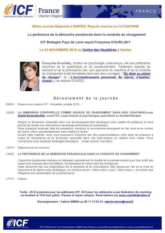 JOURNEE REGIONALE ICF NANTES 23 novembre 2015